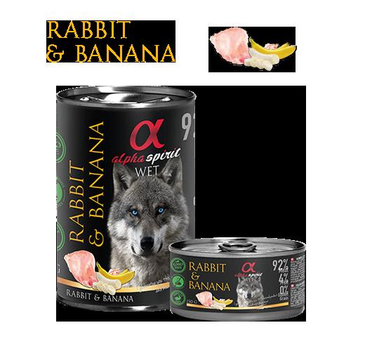 Alimento húmedo de conejo con plátano