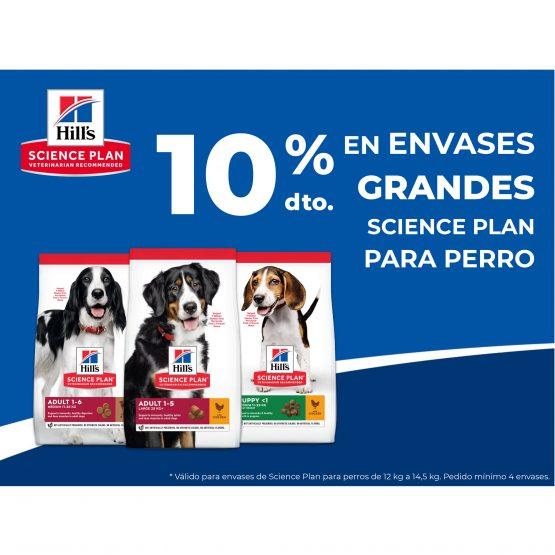 10% en envases grandes Science plan perro