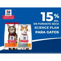 15% en formato seco Science plan para gatos