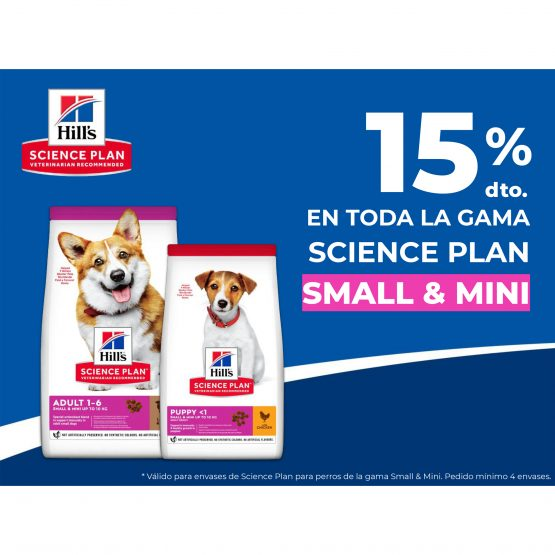 15% en toda la gama Science plan Small & Mini