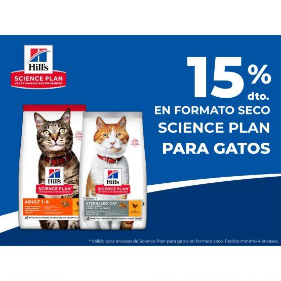 15% en formato seco Science plan para gatos