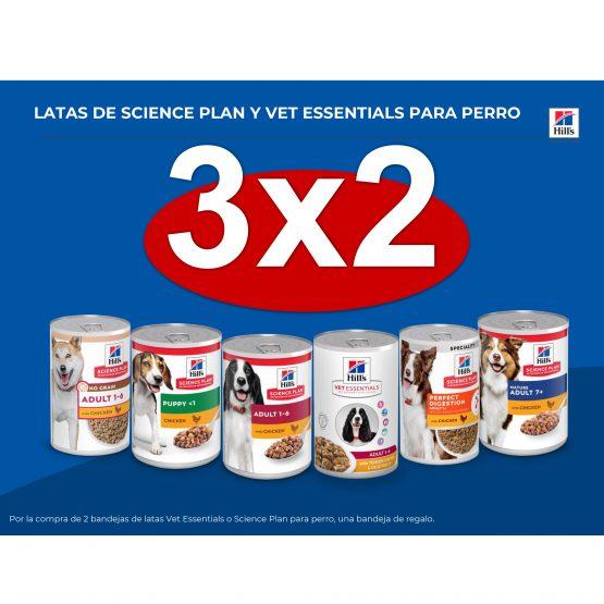 3×2 EN LATAS DE SCIENCE PLAN Y VET ESSENTIALS PARA PERRO