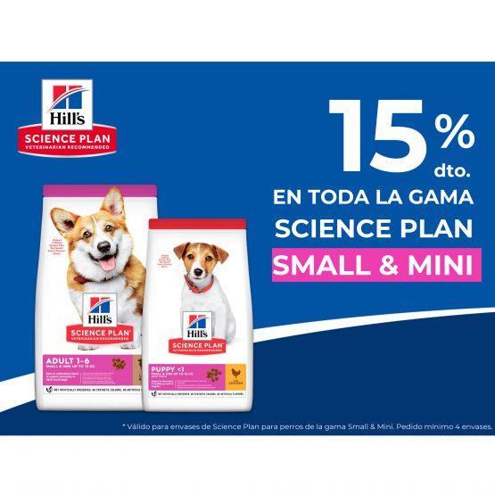 15% en toda la gama Science plan Small & Mini